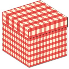 Gingham Red Plaid Storage Stool 12