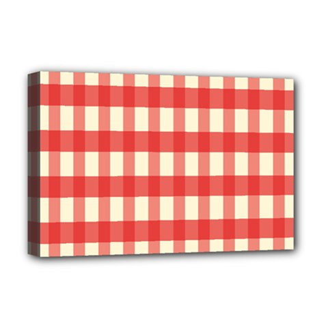 Gingham Red Plaid Deluxe Canvas 18  x 12