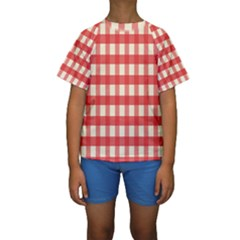 Gingham Red Plaid Kids  Short Sleeve Swimwear
