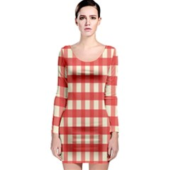 Gingham Red Plaid Long Sleeve Bodycon Dress