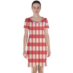 Gingham Red Plaid Short Sleeve Nightdress