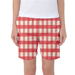 Gingham Red Plaid Women s Basketball Shorts