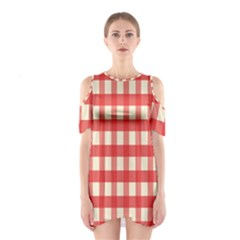 Gingham Red Plaid Shoulder Cutout One Piece