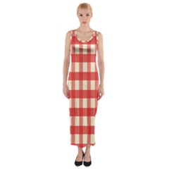 Gingham Red Plaid Fitted Maxi Dress