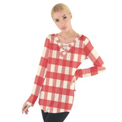 Gingham Red Plaid Women s Tie Up Tee
