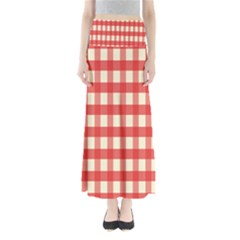 Gingham Red Plaid Maxi Skirts