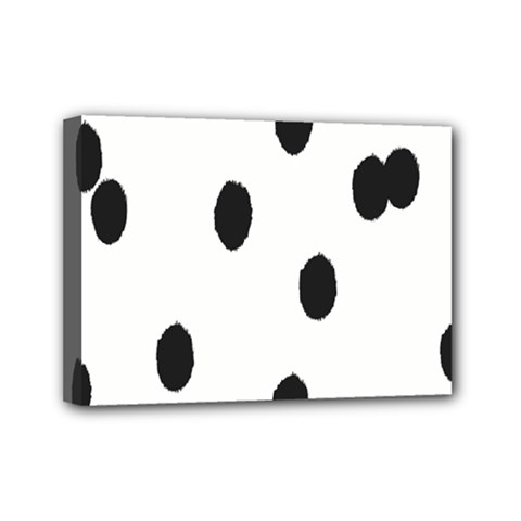 Gold Polka Dots Dalmatian Mini Canvas 7  x 5