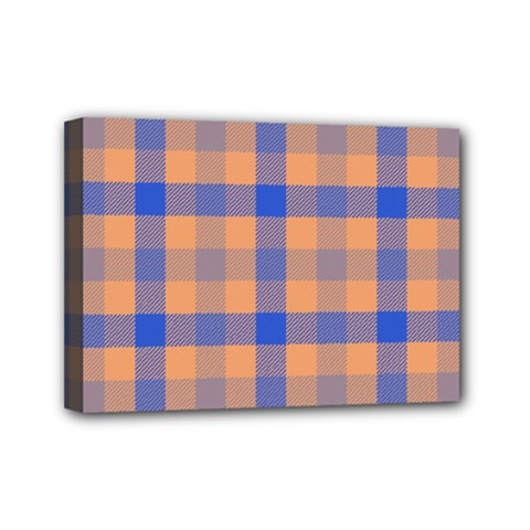Fabric Colour Orange Blue Mini Canvas 7  x 5