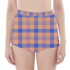 Fabric Colour Orange Blue High-Waisted Bikini Bottoms