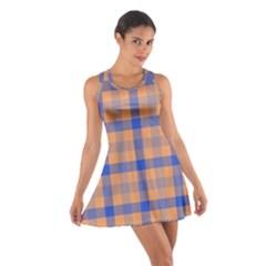 Fabric Colour Orange Blue Cotton Racerback Dress
