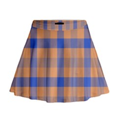 Fabric Colour Orange Blue Mini Flare Skirt