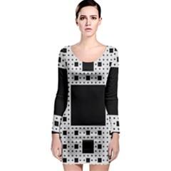 Hole Plaid Long Sleeve Bodycon Dress