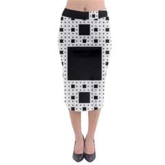 Hole Plaid Midi Pencil Skirt