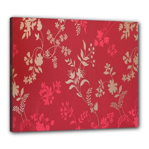 Leaf Flower Red Canvas 24  x 20