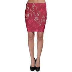 Leaf Flower Red Bodycon Skirt