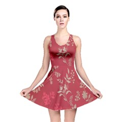 Leaf Flower Red Reversible Skater Dress