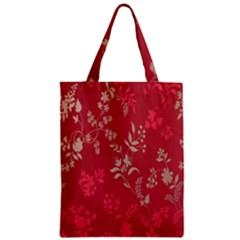 Leaf Flower Red Zipper Classic Tote Bag