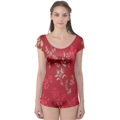 Leaf Flower Red Boyleg Leotard