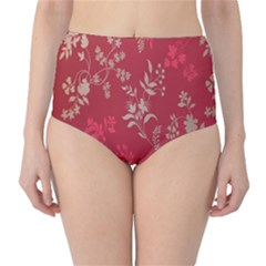 Leaf Flower Red High-Waist Bikini Bottoms