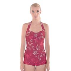 Leaf Flower Red Boyleg Halter Swimsuit