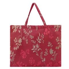 Leaf Flower Red Zipper Large Tote Bag