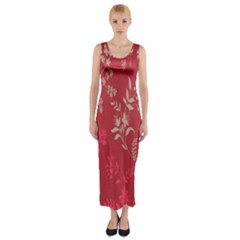 Leaf Flower Red Fitted Maxi Dress
