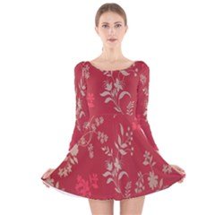 Leaf Flower Red Long Sleeve Velvet Skater Dress
