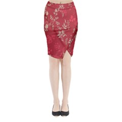 Leaf Flower Red Midi Wrap Pencil Skirt