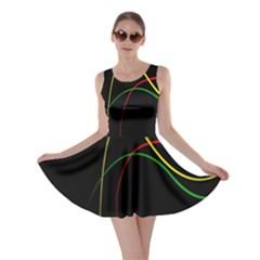 Line Red Yellow Green Skater Dress