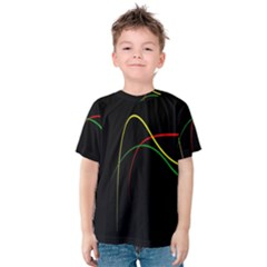 Line Red Yellow Green Kids  Cotton Tee