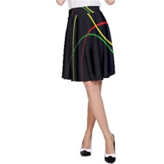 Line Red Yellow Green A-Line Skirt
