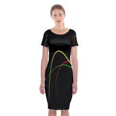 Line Red Yellow Green Classic Short Sleeve Midi Dress