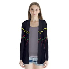 Line Red Yellow Green Cardigans
