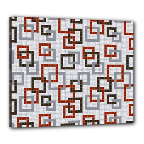 Links Rust Plaid Grey Red Canvas 24  x 20