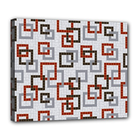 Links Rust Plaid Grey Red Deluxe Canvas 24  x 20