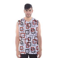 Links Rust Plaid Grey Red Men s Basketball Tank Top