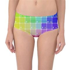 Number Alphabet Plaid Mid-Waist Bikini Bottoms