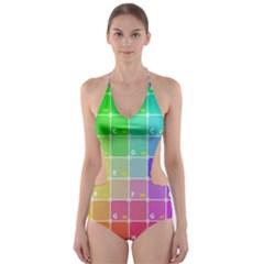 Number Alphabet Plaid Cut-Out One Piece Swimsuit