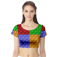Number Plaid Colour Alphabet Red Green Purple Orange Short Sleeve Crop Top (Tight Fit)
