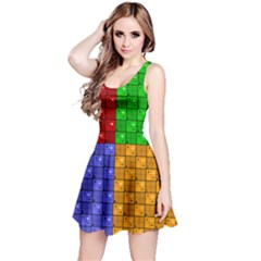 Number Plaid Colour Alphabet Red Green Purple Orange Reversible Sleeveless Dress