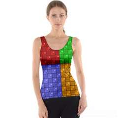Number Plaid Colour Alphabet Red Green Purple Orange Tank Top