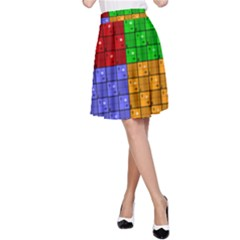 Number Plaid Colour Alphabet Red Green Purple Orange A-Line Skirt