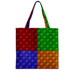Number Plaid Colour Alphabet Red Green Purple Orange Zipper Grocery Tote Bag