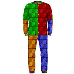 Number Plaid Colour Alphabet Red Green Purple Orange OnePiece Jumpsuit (Men)