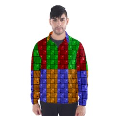 Number Plaid Colour Alphabet Red Green Purple Orange Wind Breaker (Men)