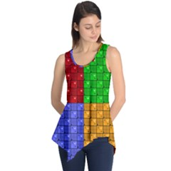 Number Plaid Colour Alphabet Red Green Purple Orange Sleeveless Tunic