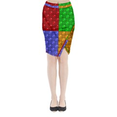 Number Plaid Colour Alphabet Red Green Purple Orange Midi Wrap Pencil Skirt