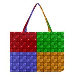 Number Plaid Colour Alphabet Red Green Purple Orange Medium Tote Bag