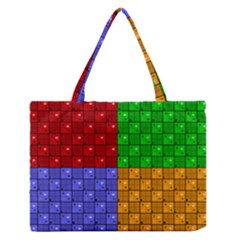 Number Plaid Colour Alphabet Red Green Purple Orange Medium Zipper Tote Bag