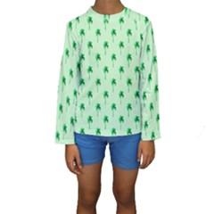 Palm Tree Coconoute Green Sea Kids  Long Sleeve Swimwear